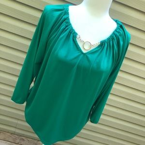 Dana Buchman: green blouse with gold chain size M